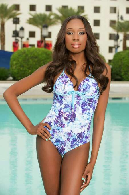 Miss British Virgin Islands 2012, Abigail Hyndman, poses for photos in swimwear by Kooey Australia. Photo: Darren Decker, Miss Universe Organization / Miss Universe Organization