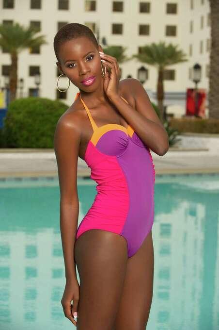 Miss St. Lucia 2012, Tara Edward, poses for photos in swimwear by Kooey Australia. Photo: Darren Decker, Miss Universe Organization / Miss Universe Organization