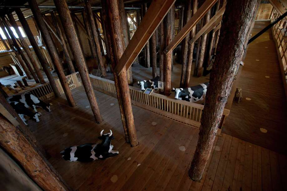 Interior view of the full scale replica of Noah's Ark with life-size replica's of animals which has opened its doors in Dordrecht, Netherlands, Monday Dec. 10, 2012, after receiving permission to receive up to 3,000 visitors per day.  Stormy weather could do nothing to dampen the good mood of its creator, Dutchman Johan Huibers: in fact, the rain was appropriate. For those who don't know or remember the Biblical story, God ordered Noah to build a boat massive enough to save animals and humanity while God destroyed the rest of the earth in an enormous flood.(AP Photo/Peter Dejong) Photo: Peter Dejong, Associated Press / AP