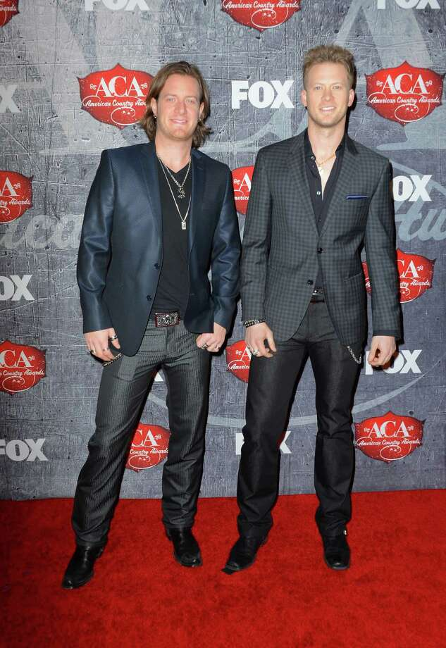Singers Tyler Hubbard (L) and Brian Kelley of Florida Georgia Line arrive. Photo: Frazer Harrison, Getty Images / 2012 Getty Images