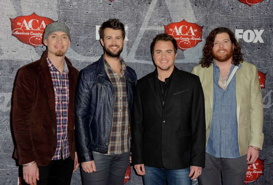 (L-R) Bassist Jon Jones, drummer Chris Thompson, frontman Mike Eli and guitarist James Young of the Eli Young Band arrive. Photo: Frazer Harrison, Getty Images / 2012 Getty Images