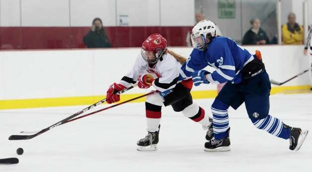 Portledge school vs. Greenwich high school girls ice hockey played at Dorothy Hamill ice rink, Greenwich CT Monday December 10th 2012. Photo: Mark Conrad / Stamford Advocate Freelance