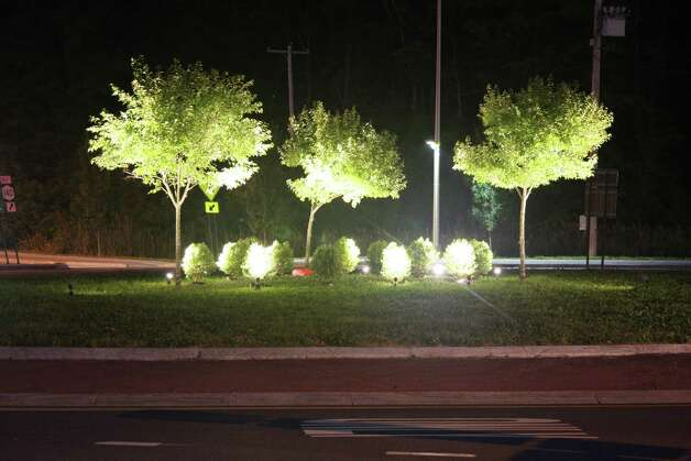 Experimental lighting illuminated this roundabout in Bethlehem this summer. (Photo provided by the Lighting Research Institute.)