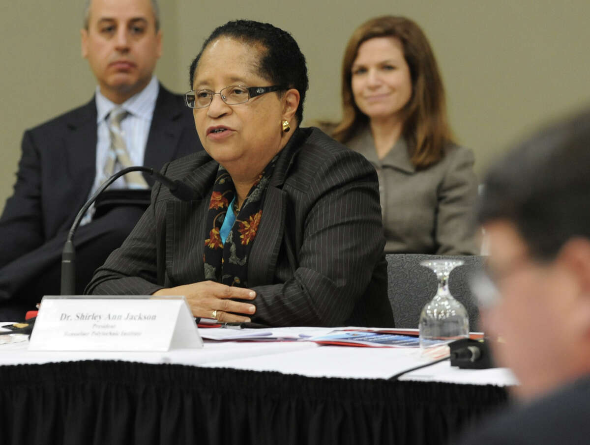 Co-chair Dr. Shirley Ann Jackson, president of Rensselaer Polytechnic Institute, speaks during a public meeting held by the Capital Region Economic Development Council at RPI on Monday Dec. 10, 2012 in Troy, N.Y. (Lori Van Buren / Times Union)