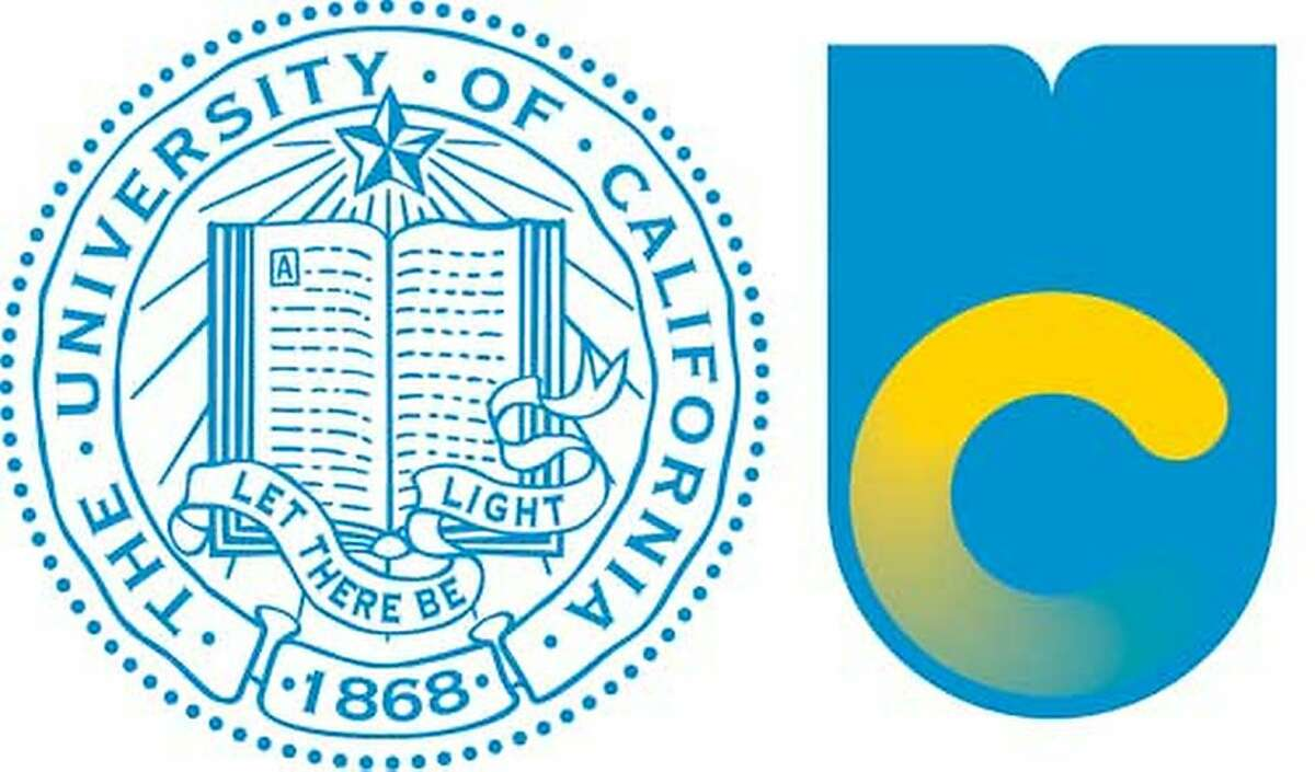 """This image shows the old logo of the University of California, left, with the new logo. The university's original logo -- with its open book, 1868 date stamp and """"Let there be light"""" script -- will still be in circulation, appearing on president's letters and official university documents. But marketing materials and websites will feature a radically simple and more contemporary symbol: a little """"C"""" nesting inside a shield-shaped """"U."""" (AP Photo/Oakland Tribune)"""