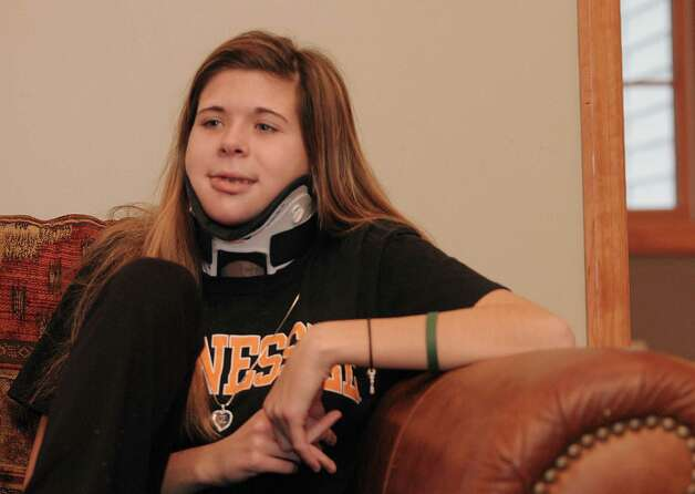Bailey Wind talks about the accident and her time spent with her boyfriend, Chris Stewart, during an interview at her home on Monday, Dec. 10, 2012 in Latham, NY.  Wind was injured and Stewart was killed in a traffic accident on Interstate 87.  Deanna Rivers was also killed in the accident.   (Paul Buckowski / Times Union) Photo: Paul Buckowski