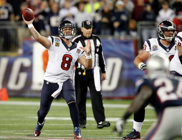 Houston Texans quarterback Matt Schaub (8) passes against the New England Patriots during the first quarter of an NFL football game in Foxborough, Mass., Monday, Dec. 10, 2012. (AP Photo/Stephan Savoia) Photo: Stephan Savoia, Associated Press / AP