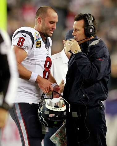 Houston Texans quarterback Matt Schaub (8) and head coach Gary Kubiak plot strategy during the second quarter of an NFL football game against the New England Patriots in Foxborough, Mass., Monday, Dec. 10, 2012. (AP Photo/Steven Senne) Photo: Steven Senne, Associated Press / AP