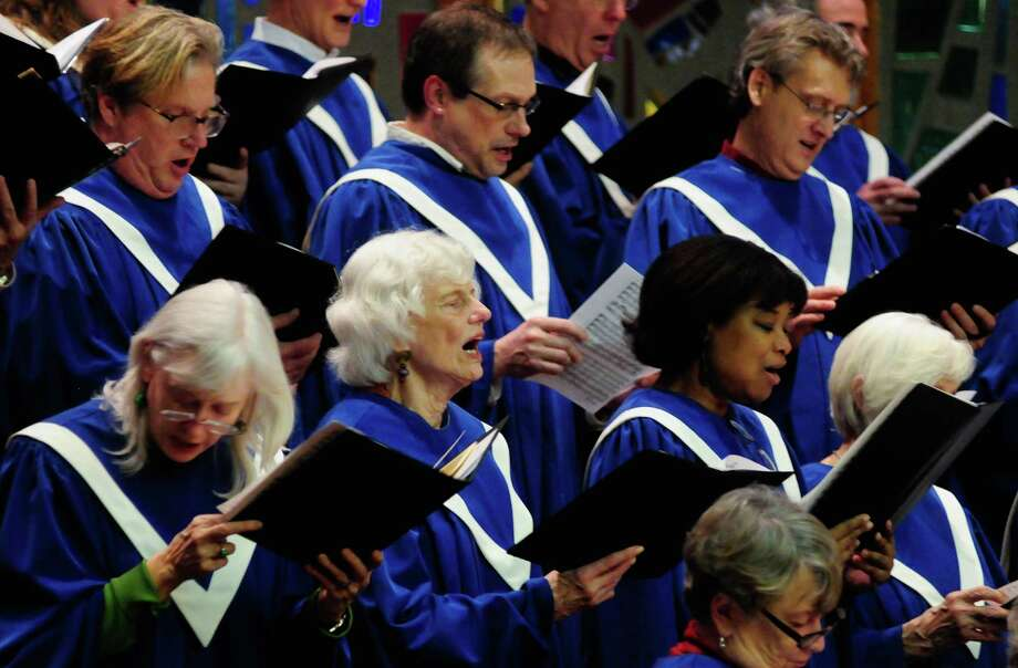 The Sanctuary Choir performs the Hallelujah Chorus during a Service of Marriage at the First Baptist Church on Capitol Hill. Photo: LINDSEY WASSON / SEATTLEPI.COM