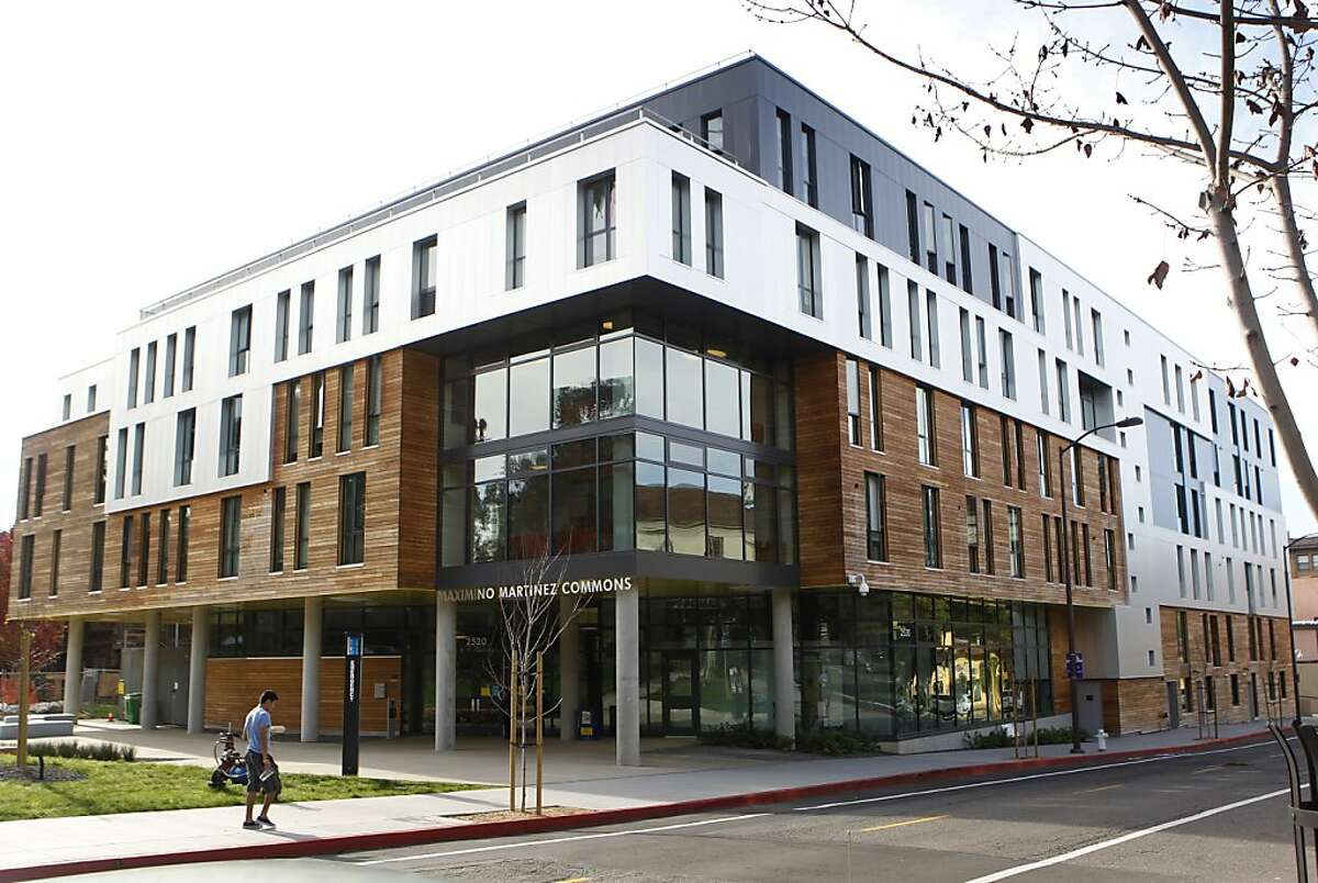 Shingle buildings bump up against UC Berkeley's Maximino Martinez Commons dorm, which features a facade emphasizing teak slats and bands of tall aluminum, plus five heritage trees that define the shape of the structure. Consider it a new chapter in the campus' architectural story.