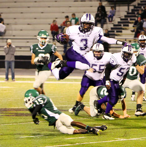 Kevin Shorter leaps over a Franklin defender during last Friday's victory over the Lions. Photo: Charles Kerr