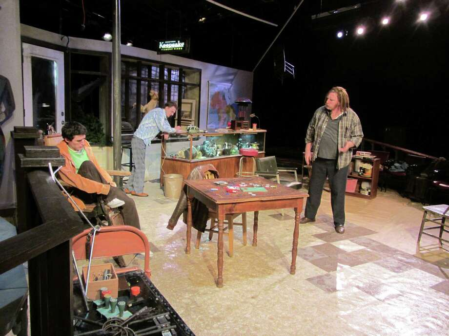 "Chris Boneta Jr. (from left), Ross Olsaver and David Connelly rehearse the 1975 piece ""American Buffalo,"" AtticRep's seventh season opener. Courtesy Rick Frederick"