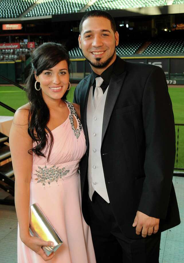 Noel and Marwin Gonzalez at the Astros Wives' Gala at Minute Maid Park on Aug. 16. The gala benefited the Houston Area Women's Center.  Photo: Dave Rossman, For The Houston Chronicle / © 2012 Dave Rossman