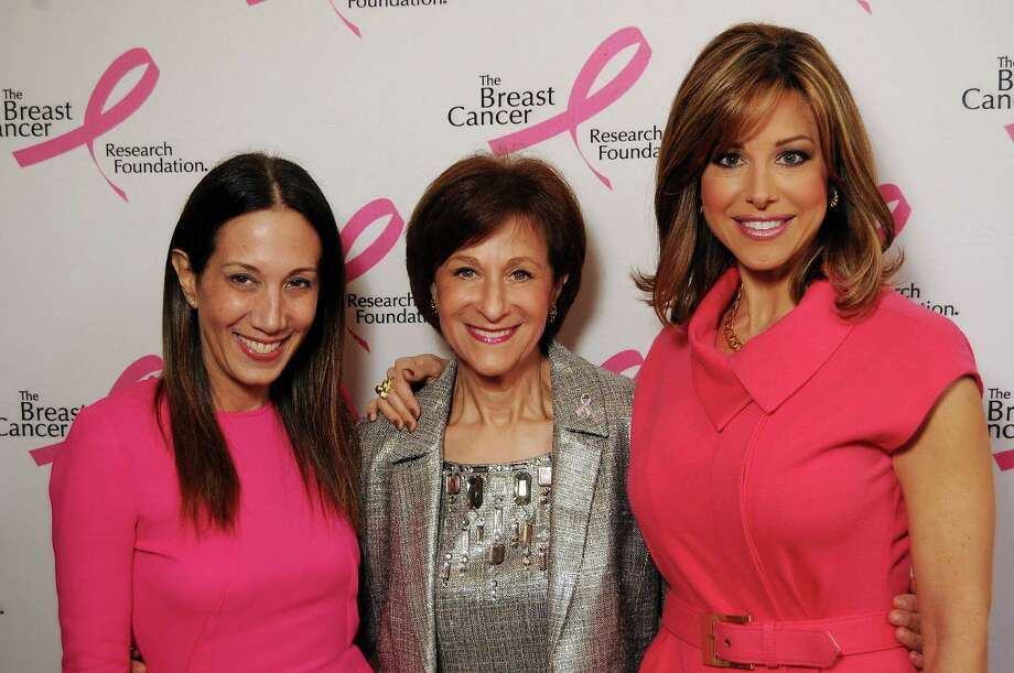 Jane Hudis, Myra Biblowit and Dominique Sachse stop to chat at The Breast Cancer Research Foundation's Hope in Houston: Hot Pink Luncheon, held at the Crystal Ballroom in the Rice Lofts on Oct. 16. Photo: Dave Rossman, For The Houston Chronicle / © 2012 Dave Rossman