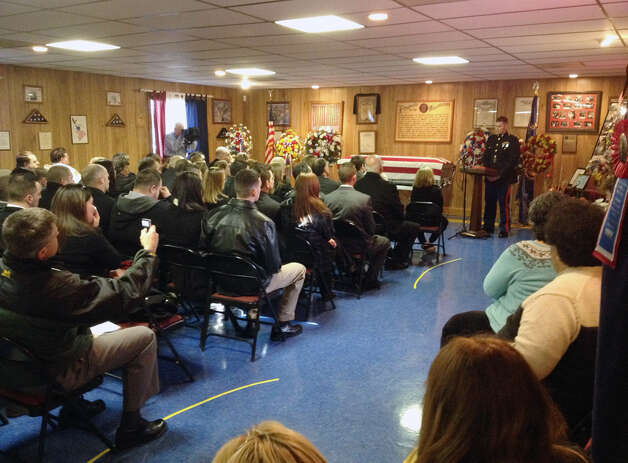 Funeral service for Marine Corps Lance Cpl. Anthony Denier at the American Legion Hall Monday morning Dec. 11, 2012, in Mechanicville, N.Y. Denier died Dec. 2 during a fire fight in Afghanistan. (John Carl D?Annibale / Times Union)