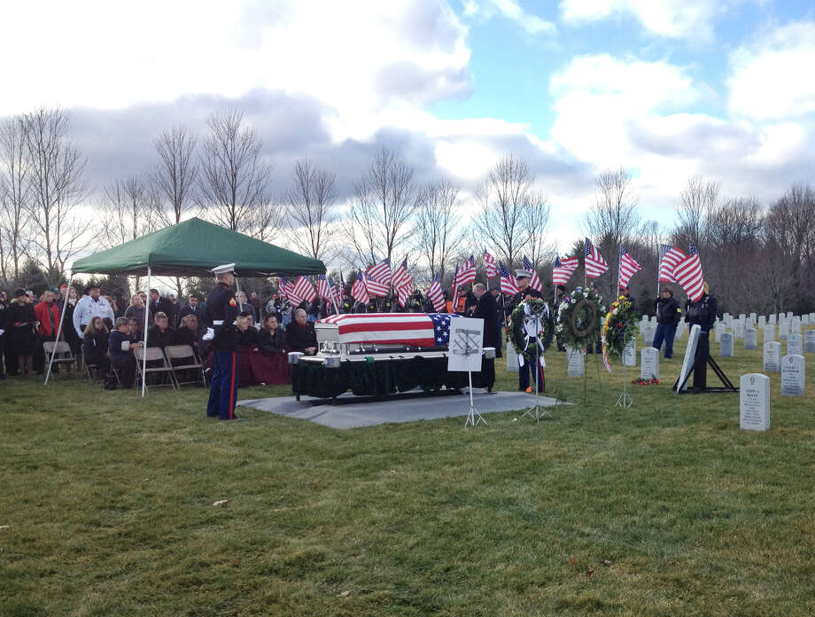 Funeral service for Marine Corps Lance Cpl. Anthony Denier at Gerald Solomon Saratoga National Cemetery, Monday Dec. 11, 2012, in Schuylerville, N.Y. Denier died Dec. 2 during a fire fight in Afghanistan. (John Carl D?Annibale / Times Union)