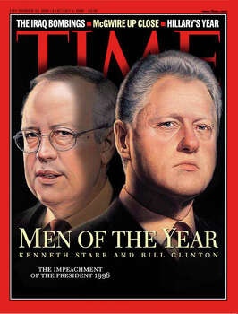 1998: President Bill Clinton and independent counsel Kenneth Starr Photo: Associated Press