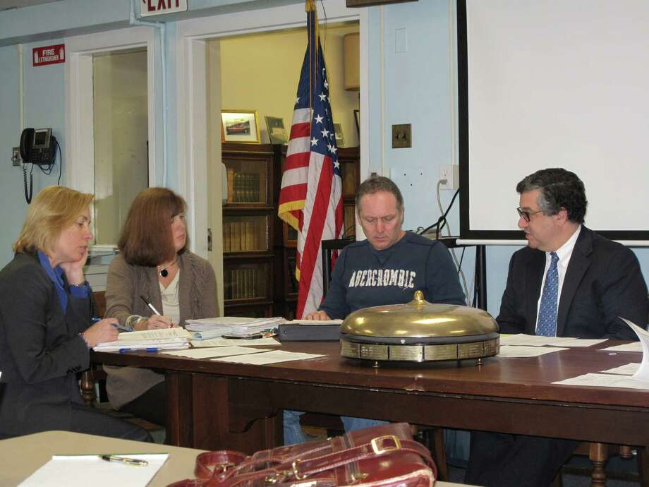 From left: Pension Adminsitrator Diane Wilson, Human Resources Director Cheryl Jones, and Fireman Tony Ryan, and First Selectman Robert Mallozzi at the pension committee meeting on Dec. 11, 2012 in New Canaan, Conn. Photo: Tyler Woods