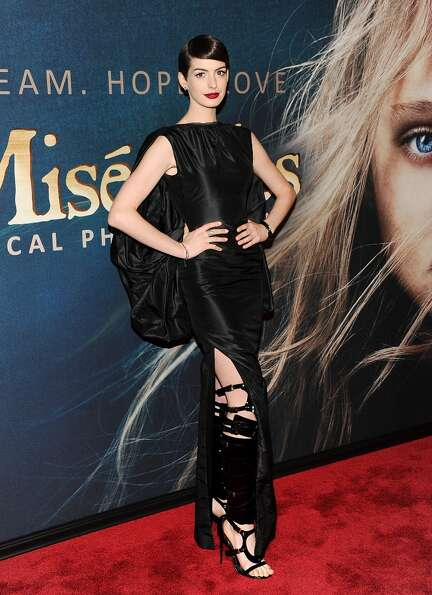 Actress Anne Hathaway attends the premiere for Les Miserables at the Ziegfeld Theatre on Monday Dec.