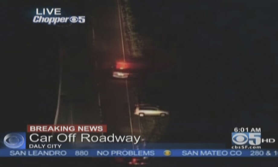 Two people were saved from a car that drove off a cliff in Daly City. Photo: CBS San Francisco