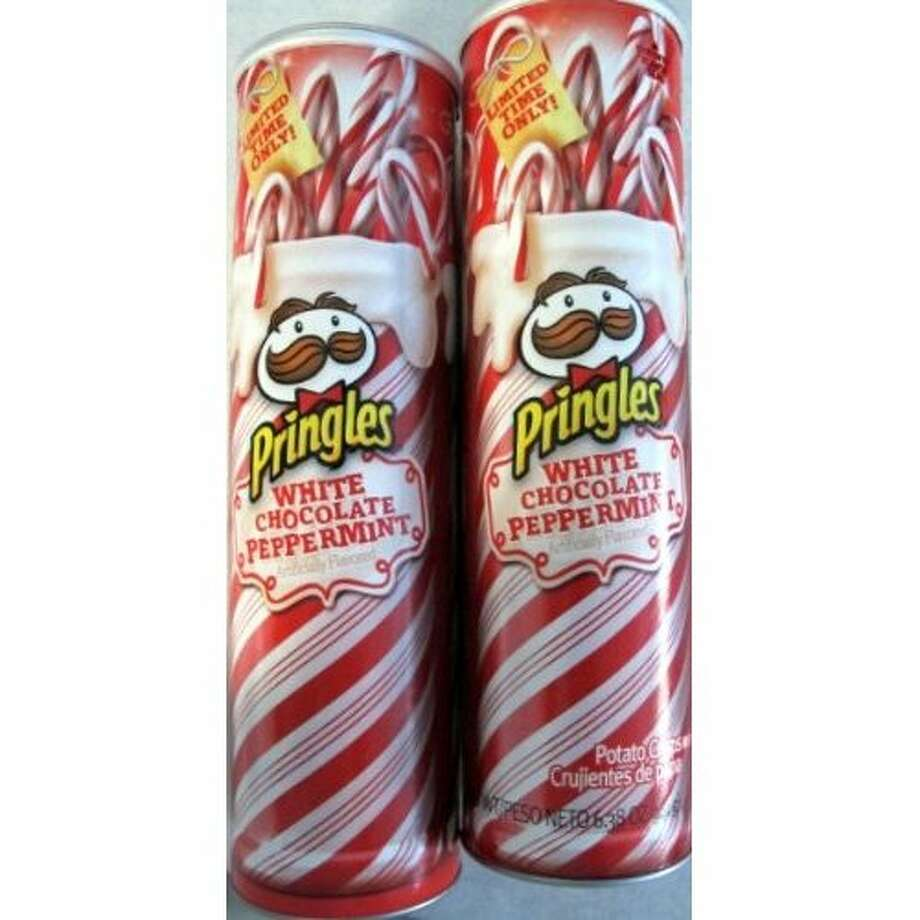 White Chocolate Peppermint Flavored Pringles Potato Crisps. Yes, they're chips but they sound more like candy. Two boxes, $14.85. Amazon.com.