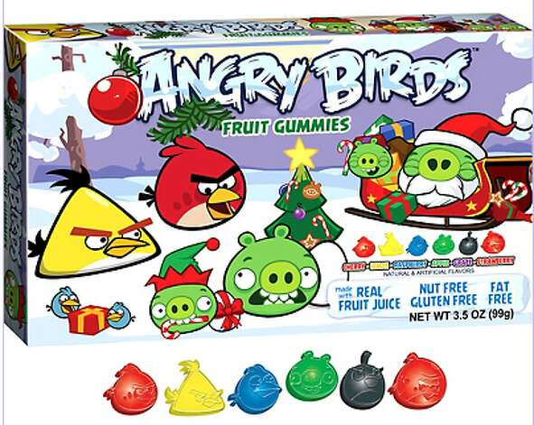 Angry Birds Chrismas Fruit Gummies. Your kids play Angry Birds all day and now they can chew these fruit-flavored gummies while they play. $1.99. PartyCity.com.