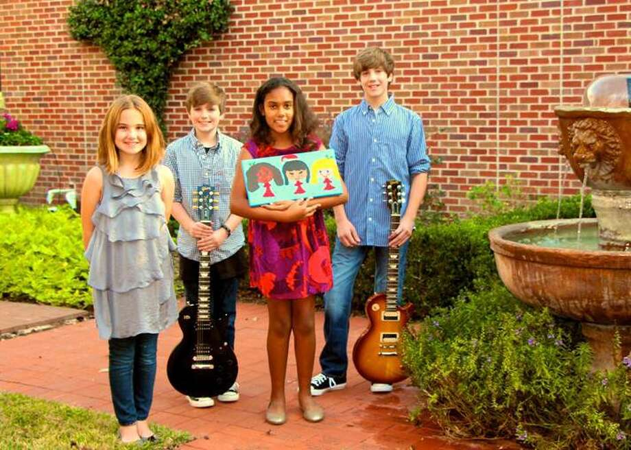 The student-organized charity art show will feature original art work and live music by local band Triple5Seven. Student artists Massey McNinch and Lani McHenry are pictured with Triple5Seven band members Ryan Fulgham and Austin McGinnis Photo: Contributed