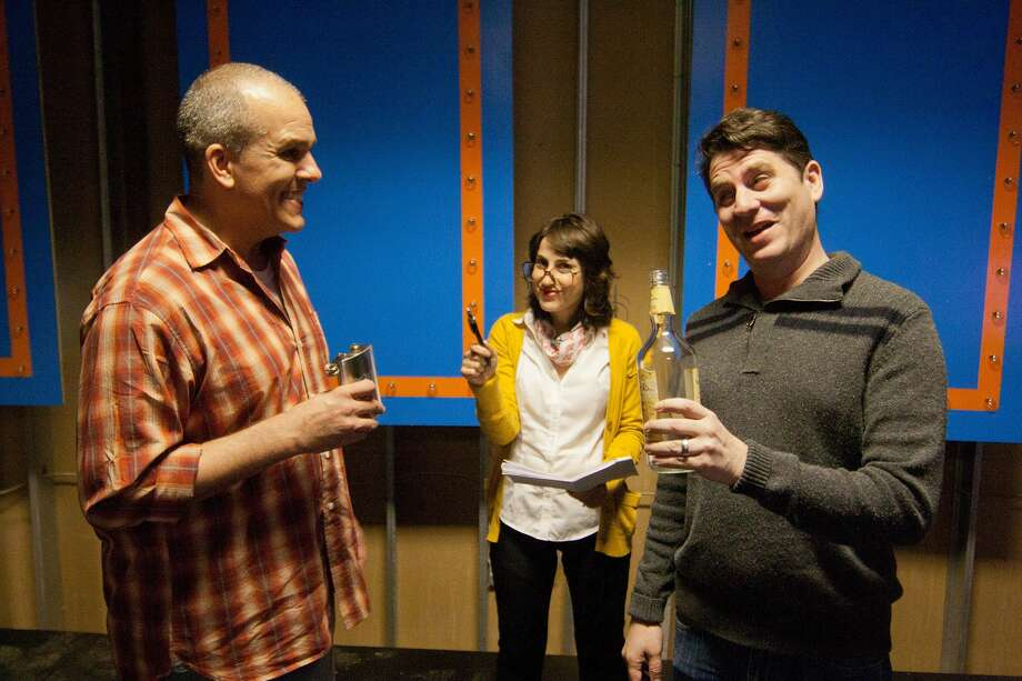 """Greg Dean (red plaid) and Ty Mahany (grey) will appear in """"Your Family Sucks"""" by Abby Koenig (center, in yellow sweater) at War'House Visual Studios.  Photo By R. Clayton McKee Photo: R. Clayton McKee, Freelance / © R. Clayton McKee"""