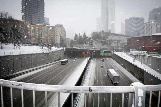 The view of I-5 from Pine Street in Seattle on January 18, 2012. Photo: JOE DYER / SEATTLEPI.COM
