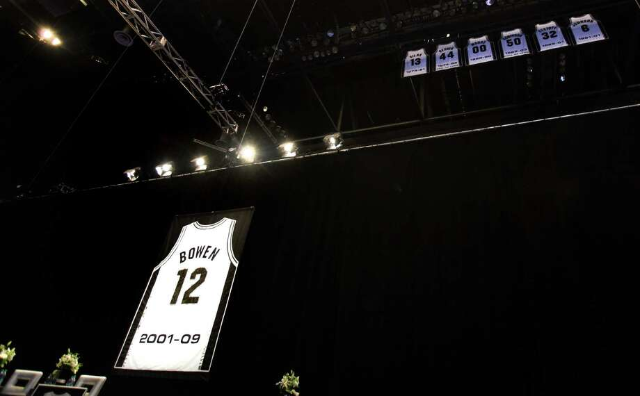Luncheon for Bruce Bowen jersey retirement at the ATT Center, Monday, March 19, 2012. Bob Owen/San Antonio Express-News. Photo: BOB OWEN, Staff / © 2012 San Antonio Express-News
