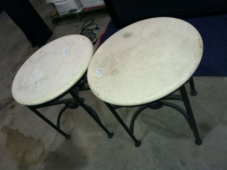 These patio tables are being auctioned by the U.S. Marshals Office.