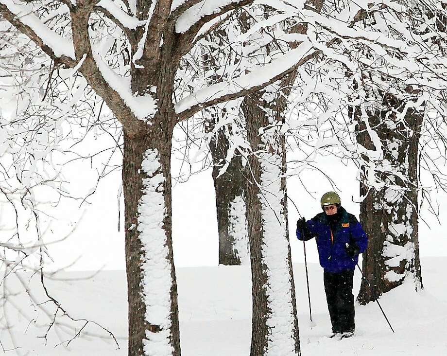 Septuagenarian goes solo:Seventy-year-old Ronald Schroeder kicks and glides through a snowy wood in Winona, Minn. He cut his own trail in about 8 inches of wet snow. Photo: Andrew Link, Associated Press