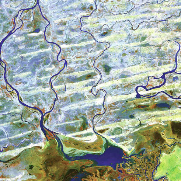 The Niger River and smaller rivers and streams flow northward out of Lake Debo in landlocked Mali in
