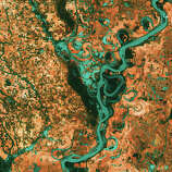 Graceful swirls and whorls of the Mississippi River encircle fields and pastures in this Landsat 7 image from 2003. Oxbow lakes and cutoffs accompany the meandering river south of Memphis, Tennessee, on the border between Arkansas and Mississippi. The mighty Mississippi is the largest river system in North America and forms the second largest watershed in the world.