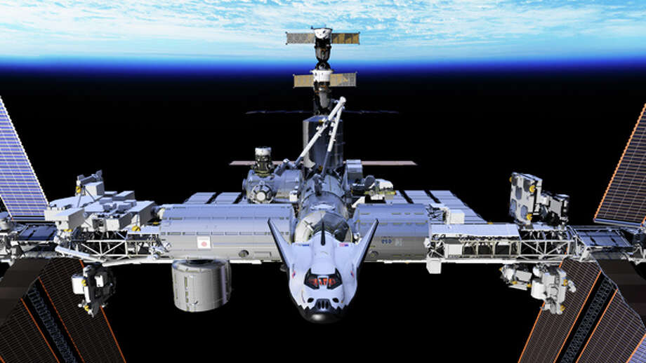 The proposed Sierra Nevada Corp. Dream Chaser vehicle is depicted docked with the International Space Station. Photo: Sierra Nevada Corp.