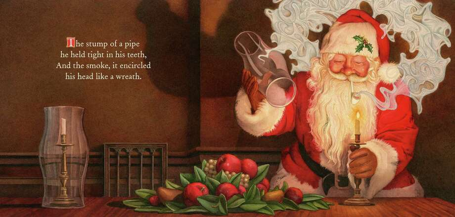 "This illustration by Charles Santore depicts Santa smoking a pipe in ""The Night Before Christmas,"" from a version of the poem released by Applesauce Press. Photo: HOEP / Applesauce Press"