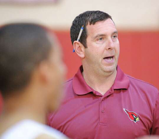 Greenwich High School boys basketball coach Bill Brehm during practice at the school, Tuesday afternoon, Dec. 11, 2012. Photo: Bob Luckey / Greenwich Time