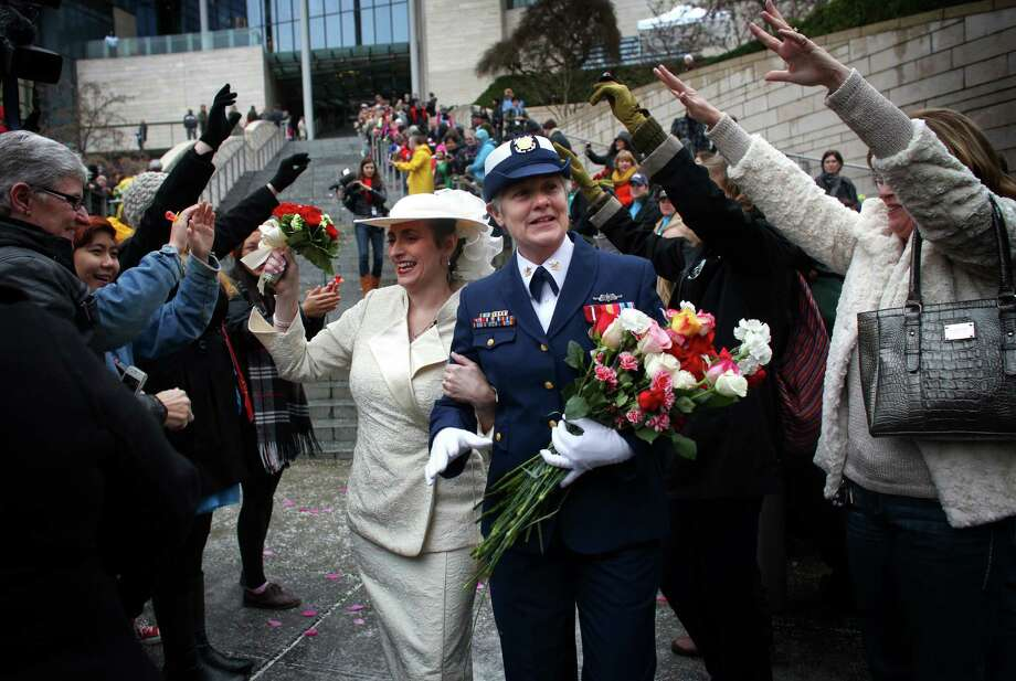 Deb Needham, left, and Nancy Monahan, a retired member of the U.S. Coast
