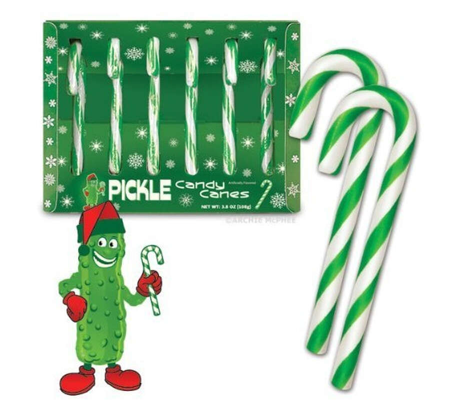 Pickle Candy Canes. These are for those people who are tired of the taste of peppermint! Instead they can enjoy the tangy-dill taste of a barrel-fresh pickle. $7.95. BaronBob.com.