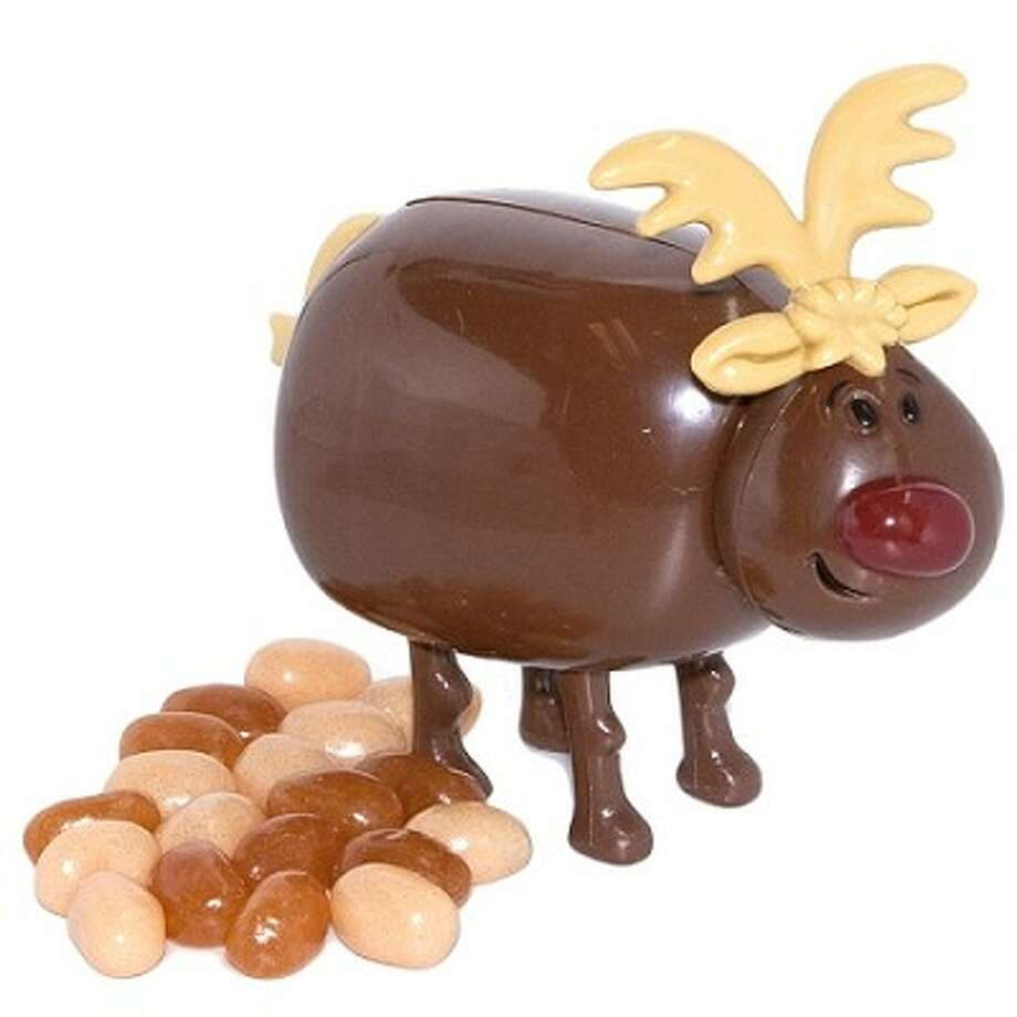 Pooping Reindeer Candy. Santa's Reindeer can fly, light up their noses and pull a sleigh around the globe in one night. But even with all that magic, they still have to answer nature's call once in a while. Need proof? This remarkably stupid product is half toy, half candy. It features a four inch plastic reindeer with a very special skill. When you push his tail down, he poops candy droppings. $5.99. Stupid.com. Photo: Unknown