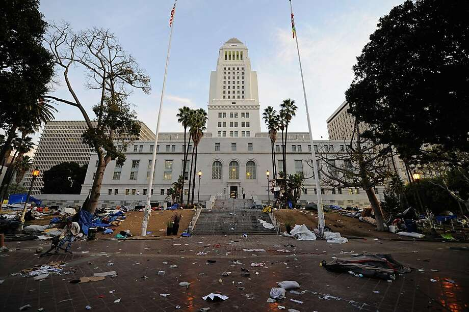 This was the scene at L.A. City Hall after police raided the Occupy Los Angeles encampment Nov. 30, 2011, after a protest that cost the city $4.7 million. Photo: Kevork Djansezian, Getty