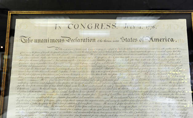 "A 1848 engraving of the Declaration of Independence printed in 1848 on display at C. Parker Gallery in Greenwich, Tuesday afternoon, Dec. 11, 2012. C. Parker Gallery, Seth Kaller, John Reznikoff and Stephen Rockwell Desloge will be hosting the opening of a special showing of ""History You Can Own,"" a collection of authentic historic documents and items from American history available for purchase for the holidays, Wednesday,  from 6-8 p.m. at the C. Parker Gallery. The declaration is part of the showing with an asking price of $ 48,000. Photo: Bob Luckey / Greenwich Time"