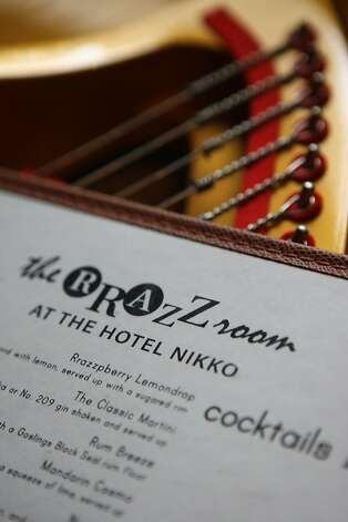 A drink menu of the cabaret performance venue at the Nikko Hotel called the Rrazz Room in San Francisco. Photo: Liz Hafalia, SFC