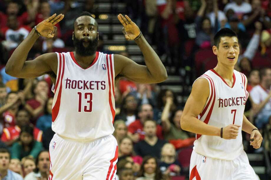 Shooting guard James Harden, left, and point guard Jeremy Lin have each enjoyed big nights out of the backcourt this season, but when they start supplying them on the same nights consistently, the Rockets will be celebrating more often. Photo: Smiley N. Pool, Staff / © 2012  Houston Chronicle
