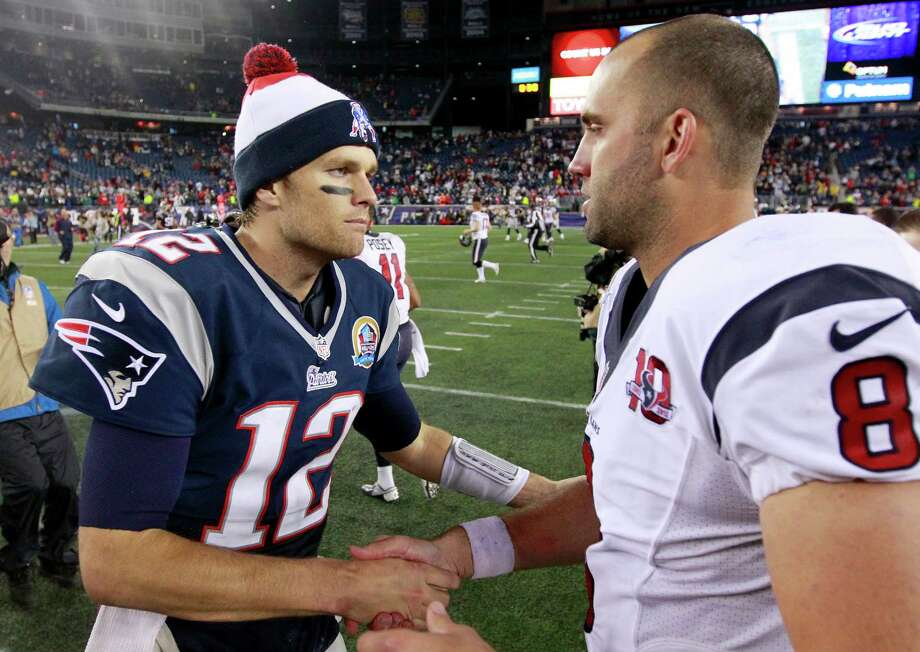 New England Patriots quarterback Tom Brady (12) shakes hands with Houston Texans quarterback Matt Schaub (8) following an NFL football game in Foxborough, Mass., Monday, Dec. 10, 2012. The Patriots won 42-14. (AP Photo/Steven Senne) Photo: Steven Senne