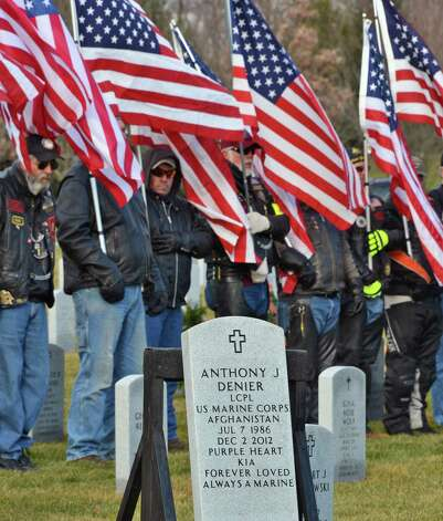 Patriot Guard Riders during burial ceremonies for Marine Corps Lance Cpl. Anthony Denier, a lifelong Mechanicville resident who was killed by enemy fire while on patrol Dec. 2. in Marjah, Afghanistan, at the Gerald B. H. Solomon Saratoga National Cemetery Tuesday Dec. 11, 2012.  (John Carl D'Annibale / Times Union) Photo: John Carl D'Annibale / 00020401A