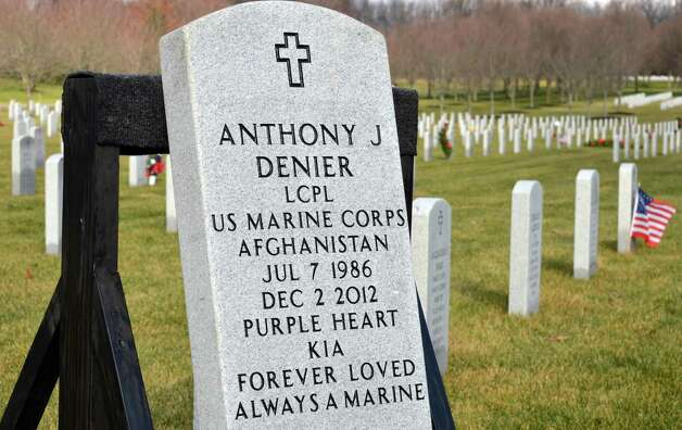 Grave marker for Marine Corps Lance Cpl. Anthony Denier, a lifelong Mechanicville resident who was killed by enemy fire while on patrol Dec. 2. in Marjah, Afghanistan,at the Gerald B. H. Solomon Saratoga National Cemetery Tuesday Dec. 11, 2012.  (John Carl D'Annibale / Times Union) Photo: John Carl D'Annibale / 00020401A