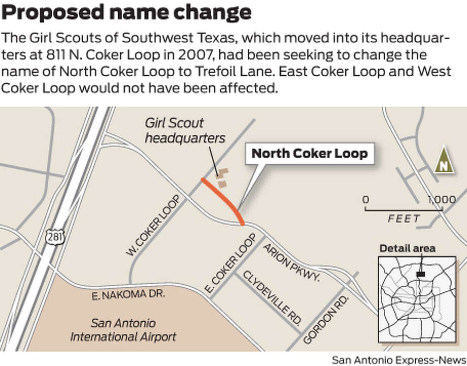 The Girl Scouts of Southwest Texas, which moved into its headquarters at 811 N. Coker Loop in 2007, is seeking to change the name of North Coker Loop to Trefoil Lane. East Coker Loop and West Coker Loop would not be affected. Photo: Mike Fisher