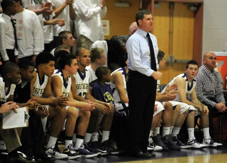 CBA's head coach Dave Doemel during their boy's high school basketball game against LaSalle Colonie,
