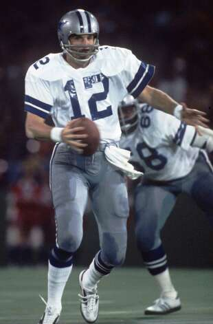 The Cowboys never forget No. 12. Before he turned joined the Dallas Cowboys in 1969, Roger Staubach wore the No. 12 on his Naval Academy jersey. The academy retired his jersey at his graduation ceremony. The Cowboys don't officially retire jersey numbers. However, the franchise has never reissued the jersey No. 12, which the Hall of Fame quarterback wore for Dallas until 1979. Photo: Staubach rolls out of the pocket during a Cowboys game in the 1979 season. Photo: Allsport, Getty Images / Getty Images North America